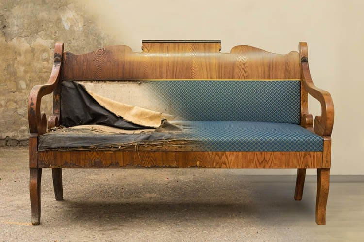 An antique wooden sofa before and after wood restoration and reupholstering