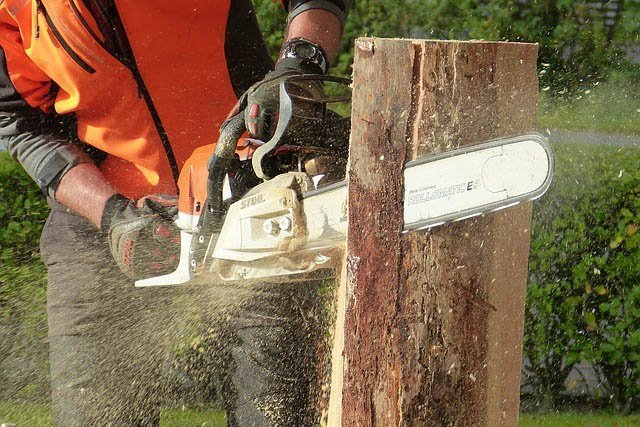 A man using a chainsaw to saw into an upright log.