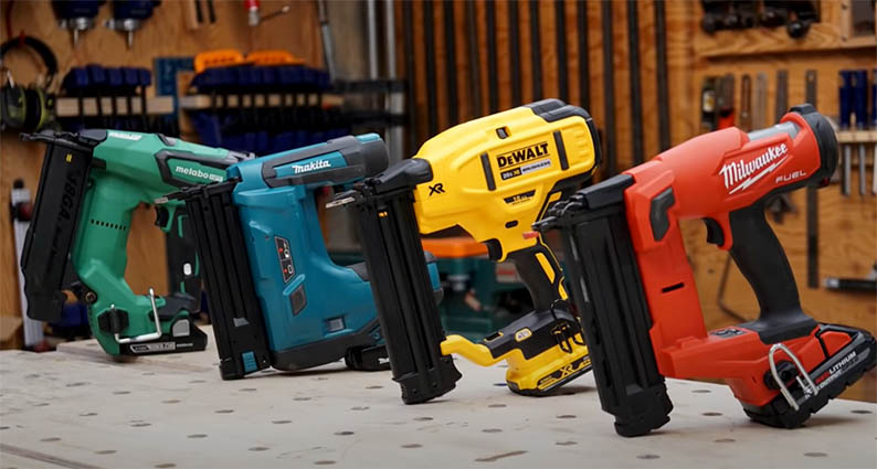 An image of four cordless brad nailers manufactured by different companies.